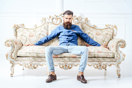 Handsome bearded young man in blue shirt and jeans sits on luxurious couch with flower decor