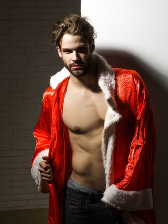 macho: Handsome man with beard or blond muscular macho athlete bodybuilder in unbutton santa suit with six packs and abs on muscle torso on white background