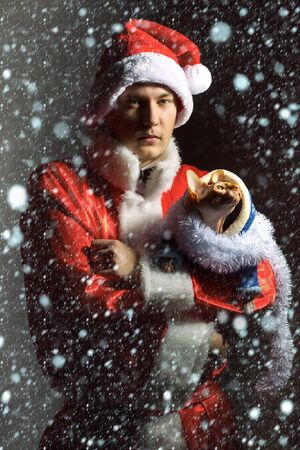 new year cat: handsome xmas man in red and white santa claus coat and hat at christmas or new year winter holiday holding sphinx cat on hands under snow and snowflakes