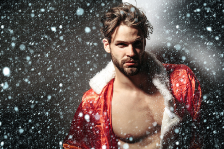 unbutton: Handsome man with beard or muscular macho athlete bodybuilder in unbutton santa suit with muscle torso on grey background under snow and snowflakes, copy space Stock Photo