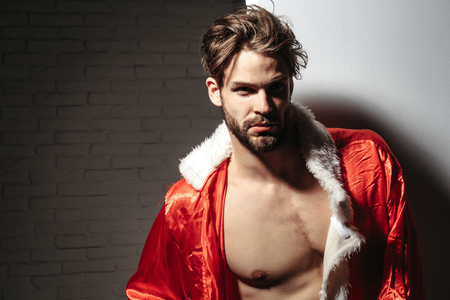 unbutton: Handsome man with beard or blond muscular macho athlete bodybuilder in unbutton santa suit with six packs and abs on muscle torso on white background