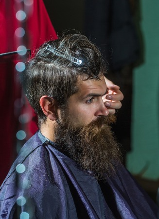 hairdressing saloon: Handsome bearded man, hipster, brunette with beard and moustache has hairstyle in hairdressing saloon or barbershop. Barber works with comb and tools