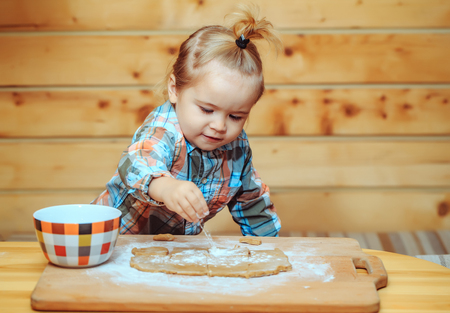 adorable small child chef or cute smiling baby boy in fashionable chekered shirt cooking on board flour and dough near bowl for cookies on wooden background