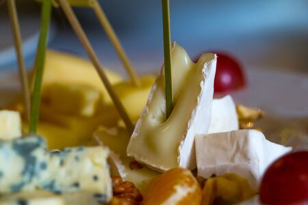 Delicious cheese plate with blue roquefort, brie, camambert, gauda with garnishes, grapes, oranges and nuts on blurred background