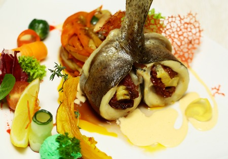 Roasted stuffed fish served with vegetables, red tomato, orange carrot, green salad, yellow lemon and sauce on plate on white background. Modern molecular gastronomy