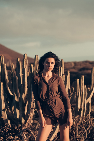 Pretty girl or beautiful woman, sexy slim brunette wearing sexi brown shirt at desert cacti in evening sunlight outdoors on grey sky background Imagens