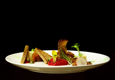Delicious snack or cold dish of puree, paste and red horseradish sauce with slices of toast bread, vegetables on plate isolated on black background. Modern molecular gastronomy
