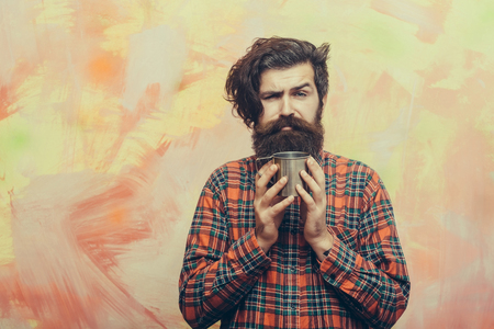 Unhappy Bearded Man Caucasian Hipster With Long Beard Moustache