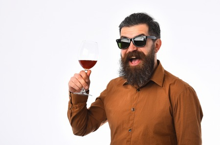 bearded man, long beard, brutal caucasian hipster with moustache holding wine glass, alcoholic drink, has happy smiling face, in brown shirt and sunglasses isolated on white background, copy space Stock Photo