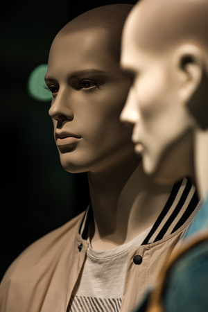 fashion mannequin dressed in fashionable cloth on shop, boutique or mall display