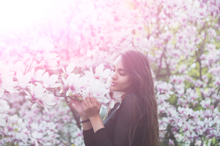 Adorable girl or pretty woman with brunette, long hair enjoying pink, magnolia flower blossom on trees in flowering park on sunny day on blurred floral environment. Daydreaming. Flourishing and spring Stock Photo