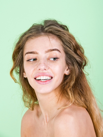 emotions and feeling, beauty and fashion, natural makeup and hair care, happy girl Stock Photo