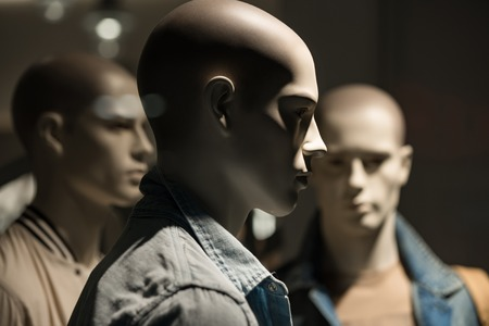 mannequin people, fashion man on black background, business and marketing, design and shopping Stok Fotoğraf