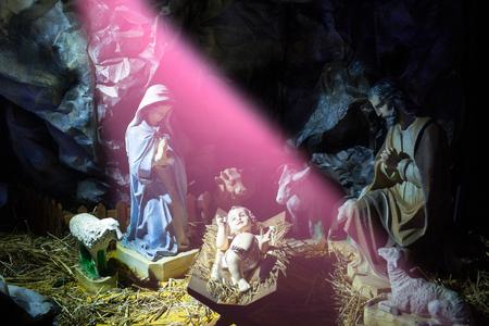 キリスト教、宗教。神聖な家族。クリスマス、休日、お祝い、キリスト降誕のシーン 写真素材