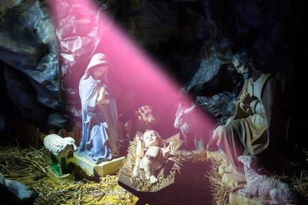 Christianity, religion. Holy family. Christmas, holidays, celebration, nativity scene Фото со стока