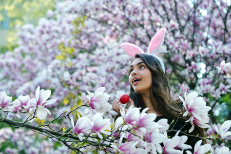 lapin sexy: girl with easter egg, in bunny ears, rabbit costume, smiling on a spring day on natural background, magnolia Banque d'images