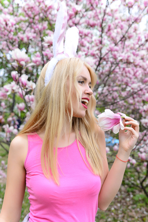 spring and summer, beauty and nature, feeling and emotions, easter celebration, spa and relax, girl with magnolia Banque d'images