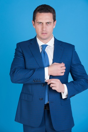 b1fbf205c man, confident businessman or successful boss with stylish hair, haircut in elegant  navy formal