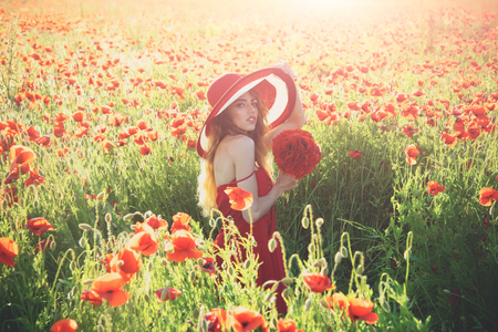 infatuation: pin up. flower bouquet at girl with long curly hair in red dress and retro hat in field of poppy seed on sunny natural background, summer, drug and love intoxication, opium