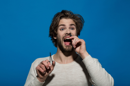 man barber with surprised and scared face twitch nose hair with tweezers and hold scissors, guy has long hair and beard on blue background Stock Photo