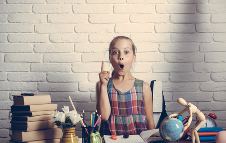 Schoolgirl having new idea sits at her desk. Kid near pile of textbooks and school supplies on white brick background. Back to school concept. Girl with books, globe and colorful stationery on desk Reklamní fotografie - 84366253