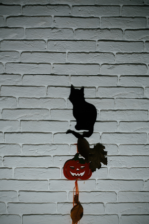 Halloween celebration concept. Black cat and orange pumpkin with tree leaves silhouettes paper cutouts on grey brick wall. Animal totem and holiday symbols. Mystery and superstition