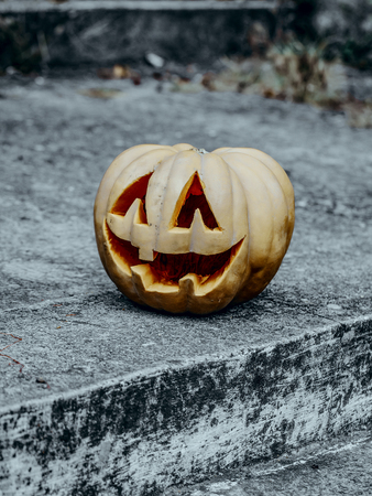 Halloween pumpkin on stony background. Jack o lantern on grey stairs outdoors. Tradition and traditional symbol. Horror and mystery. Halloween holiday celebration concept Banco de Imagens