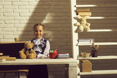 lapin: Kid in classroom on beige brick wall background. Schoolgirl with cheerful face holds teddy bear. Girl stands at her desk with colorful stationery and books. Back to school and first school day concept