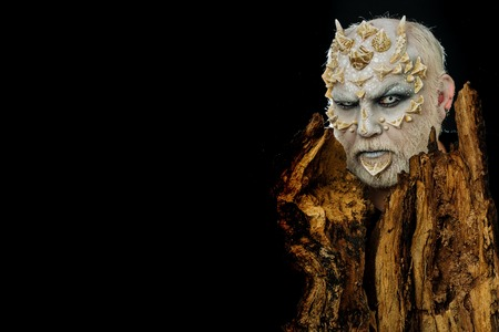 Goblin with horns on head. Monster with sharp thorns and warts. Man with dragon skin and bearded face. Tree spirit and fantasy concept. Druid behind old bark isolated on black, copy space.