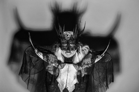 Gothic man in masquerade mask with feathers on his face long white hair and beard in black theater costume on background of big shadow holding cranium of horned animal Фото со стока