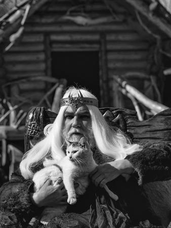 毛皮のコートで王冠と長い灰色の髪のひげを持つドルイドの老人は猫を保持し、ログハウスの背景に木製の椅子に座っている