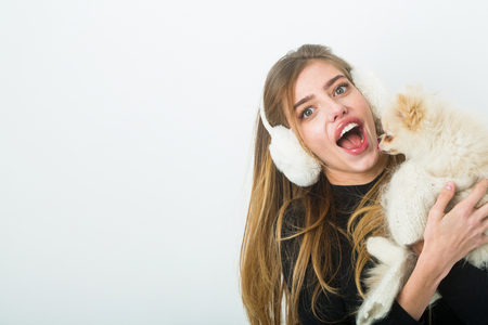 Dog in hand of woman on white background. Xmas party and vacation. Woman with small dog of Pomeranian Spitz. Girl with happy face in gloves and ears. New year of dog and winter holiday celebration. Stock Photo