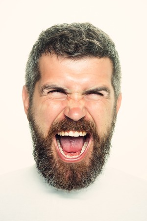 Hipster with scared face. Feeling and emotions. Guy or bearded man isolated on white background. Barber fashion and beauty. Man with long beard and mustache. Stock Photo