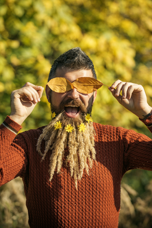 barber: Hipster or bearded guy in autumn nature outdoor. Floral fashion and beauty. Season and autumn leaves with flower. Man with natural spikelet beard sunny fall. Spikelet beard at barber and hairdresser.