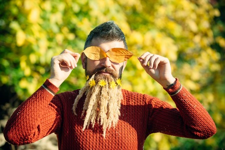 barber: Man with natural spike beard sunny fall.