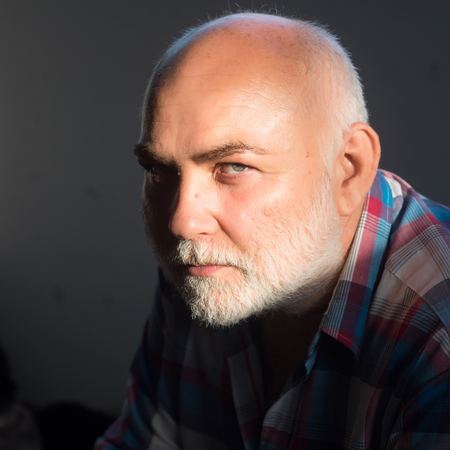 Senior man with grey hair beard and bold head forehead sit in plaid shirt. Aging, maturity, retirement concept. Imagens