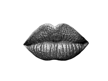 sexy female golden or gold lips isolated on white background as makeup or body art painted mouth metallized color