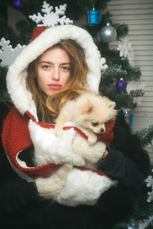 santa claus girl with pet at tree. New year of dog, girl hold puppy. Dog year winter holiday and xmas. Party celebration and christmas. Christmas woman with pretty face and pet.