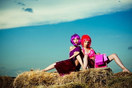 girls in colorful wig hair with shopping bag or present pack on hay in summer or spring holiday on sunny blue sky