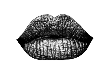 sexy female golden or gold lips isolated on white background as makeup or body art painted mouth metallized color with violet contour