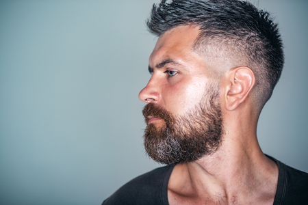Macho with bearded face profile and stylish hair pose on grey background. Barber, barbershop, hairdresser or beauty salon concept, copy space Reklamní fotografie - 89744704