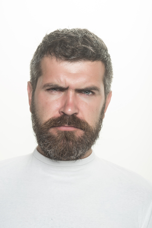 Man with long beard and mustache. Guy or bearded man isolated on white background. Barber fashion and beauty. Feeling and emotions. Hipster with sad face. 版權商用圖片