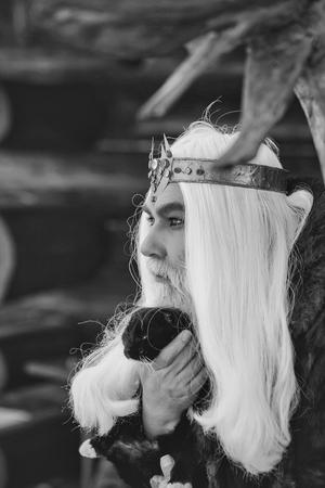 Alter Mann des Druiden mit dem langen grauen Haar und Bart mit Krone im Pelzmantel hält Katze auf dunklem hölzernem Hintergrund Standard-Bild - 91453375