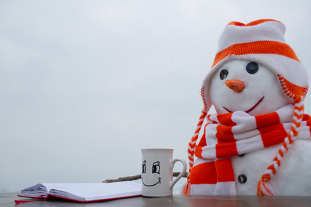 Xmas or christmas decoration. Happy holiday and celebration. New year snowman from snow in hat read book. Christmas time and education, fairytale. Snowman in winter drink hot wine from tea cup.