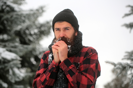 Winter holiday and celebration. Wanderlust, hiking and travel. New year man in snowy cold forest. Man with beard in winter forest with snow. Christmas hipster in hat at wood.