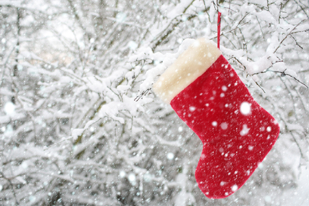 new year christmas snow concept Christmas sock hanging on tree covered with snow. Red santa stocking on snowy forest background. xmas new year present, gift and surprise. Winter holidays celebration Banco de Imagens