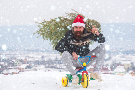 snow christmas new year concept Happy hipster carrying xmas tree on white snow. Man riding tricycle on snowy landscape. Excited cyclist shouting in santa hat and sporty wear. Christmas and new year.