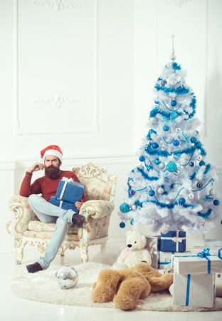 New year guy at blue Christmas tree. Christmas man with beard on serious face at present box. Winter holiday and xmas. Santa claus man with toy gift. Boxing day and party celebration. Stock Photo