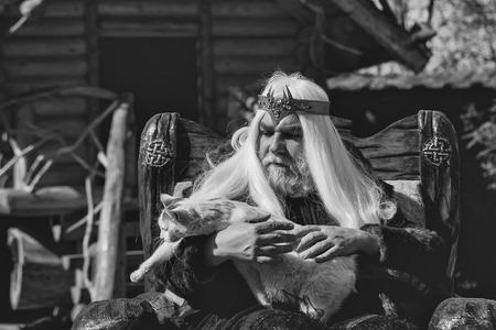 毛皮のコートで王冠を持つ長い灰色の髪のひげを持つドルイド老人は猫を保持し、ログハウスの背景に木製の椅子に座っています