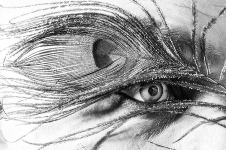 Ojo humano con lente de color azul verde en la cara con hermosa ceja de plumas de pavo real como traje de fiesta de halloween o carnaval, primer Foto de archivo - 90600210
